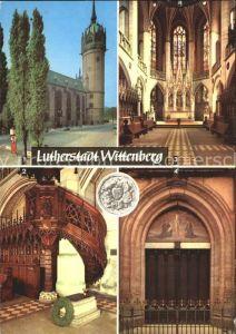 Wittenberg Lutherstadt Schlosskirche mit Thesentuer Luthers Grab in der Schlosskirche Kat. Wittenberg