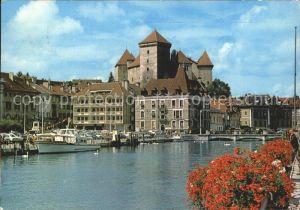 Annecy Haute Savoie et ses fleurs Le Port et le Chateau d Annecy Kat. Annecy