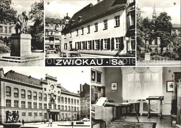 Zwickau Sachsen Robert Schumann  Denkmal Rathaus Robert Schumann  Haus Kat. Zwickau