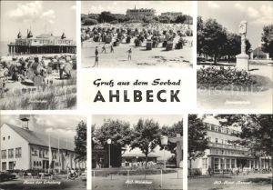 Ahlbeck Ostseebad Strand Seebruecke Konzertplatz Uhr HO Hotel Ostsee HO Milchbar Haus der Erholung Kat. Heringsdorf Insel Usedom