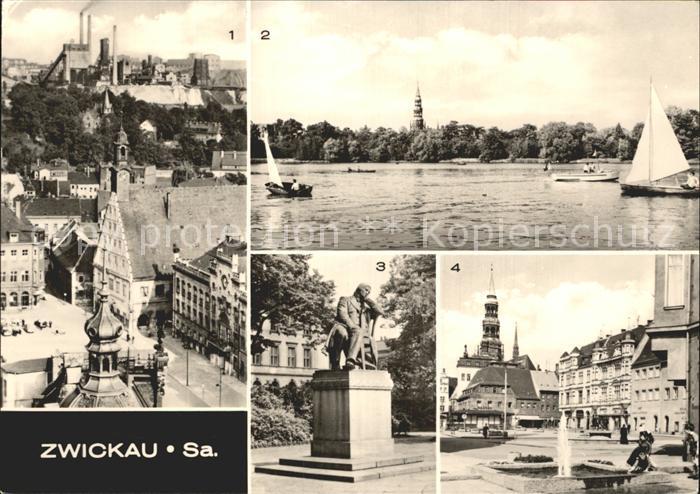 Zwickau Sachsen Blick vom Dom zum Hauptmarkt Schwanenteich Robert Schumann Denkmal Kat. Zwickau