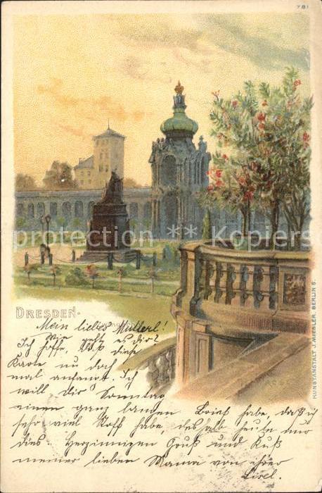 Dresden Zwingerhof Denkmal Kat. Dresden Elbe