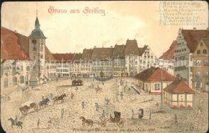 Freiberg Sachsen Obermarkt anno 1790 Litho Kat. Freiberg