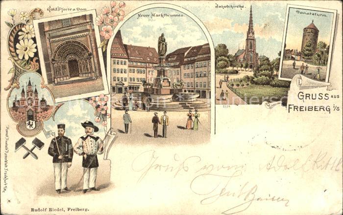 Freiberg Sachsen Pforte Dom Marktbrunnen Jakobikirche Donatsturm Reichspost Litho Kat. Freiberg