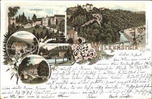 Wolkenstein Erzgebirge Warmbad Hotel Waldmuehle Huettenmuehle Flossplatz Schloss Reichspost Litho Kat. Wolkenstein