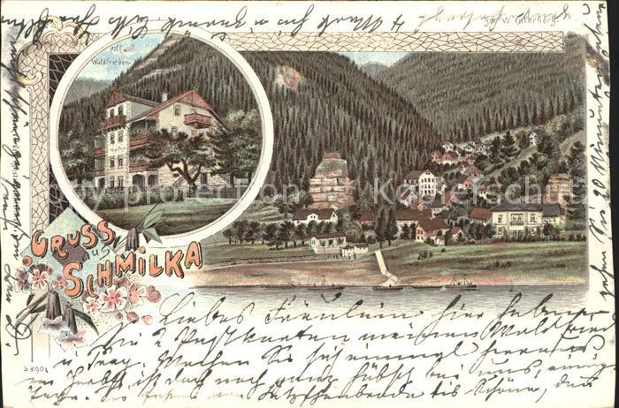 Schmilka Ortsansicht Villa Waldfrieden Reichspost Litho Kat. Bad Schandau