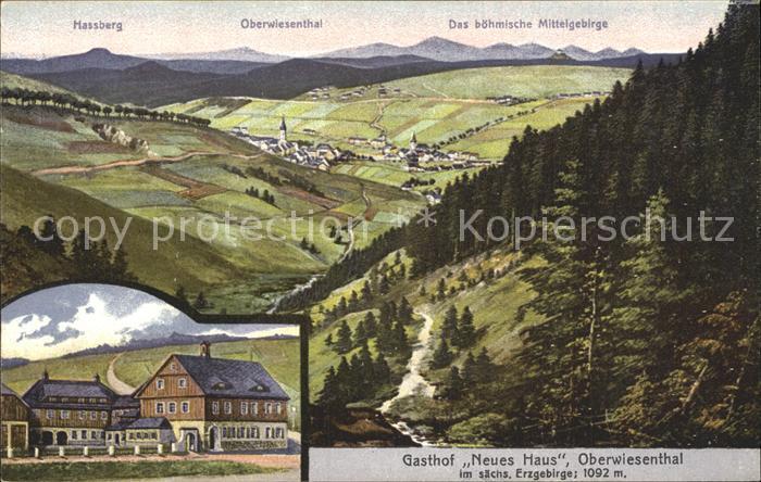 Oberwiesenthal Erzgebirge Panorama Boehmisches Mittelgebirge Gasthof Neues Haus Kuenstlerkarte Kat. Oberwiesenthal
