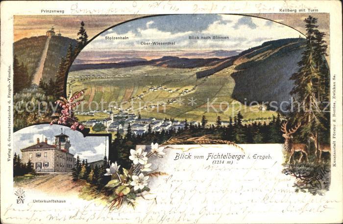 Oberwiesenthal Erzgebirge Panorama Blick vom Fichtelberg Boehm Mittelgebirge Kuenstlerkarte Kat. Oberwiesenthal