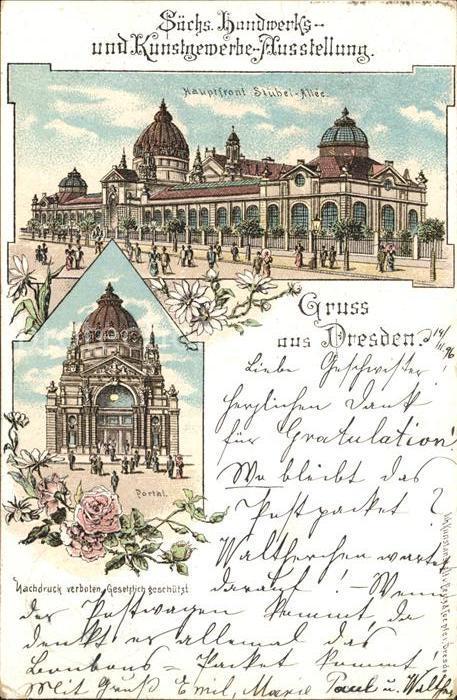 Dresden Handwerks  und Kunstgewerbe Ausstellung Portal und Hauptfront Stuebel Alle Kat. Dresden Elbe