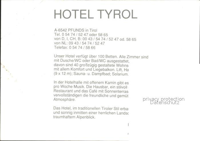 Pfunds Hotel Tyrol Pfunds Tiroler Oberland Nr Cx57883 Oldthing