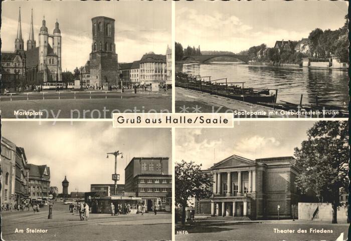 Halle Saale Theater des Friedens Am Steintor Marktplatz Saalepartie / Halle /Halle Saale Stadtkreis