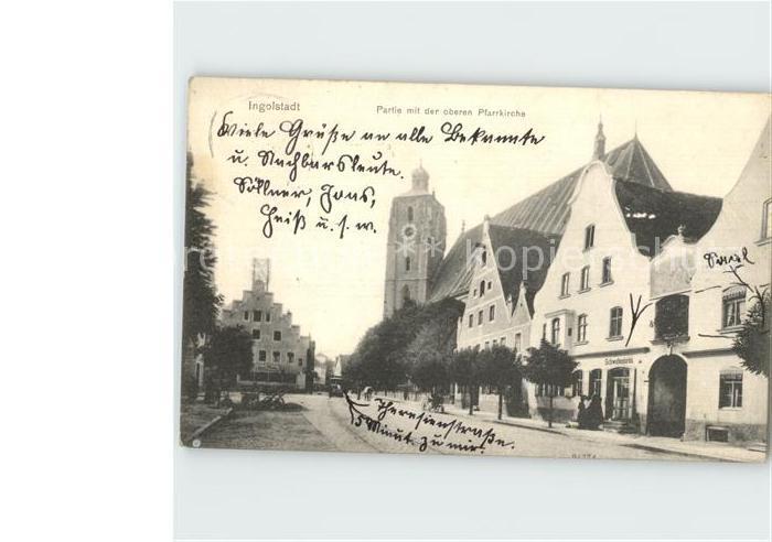 Ingolstadt Donau Partie an der oberen Pfarrkirche / Ingolstadt /Ingolstadt Stadtkreis