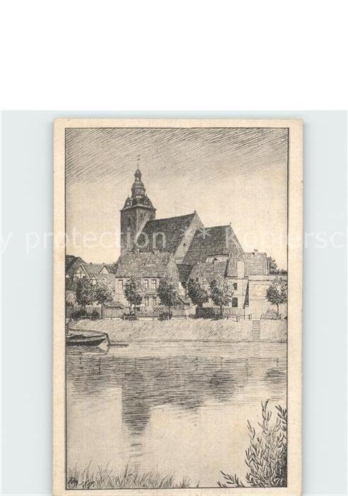 Havelberg St Laurentiuskirche mit Havel Zeichnung / Havelberg /Stendal LKR