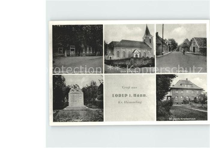 Lorup Baeckerei Kalvolage Kirche Dorfmotiv Ehrenmal St Josefs Krankenhaus / Lorup /Emsland LKR