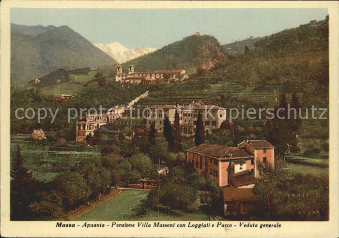 Massa Apuania Pensione Villa Massoni con Loggiati e Parco Veduta generale Kat. Massa