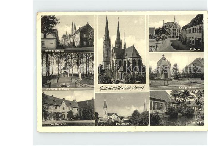Billerbeck Westfalen Schmiedestr Dom Rathaus Ludgerus Brunnen Kriegerehrenmal Haus Hameren Suedansicht Richthof Kat. Billerbeck