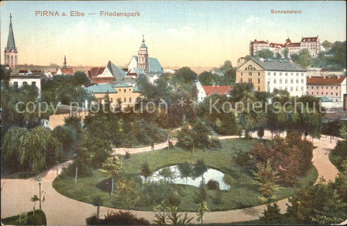 Pirna Friedenspark Schloss Sonnenstein Kat. Pirna