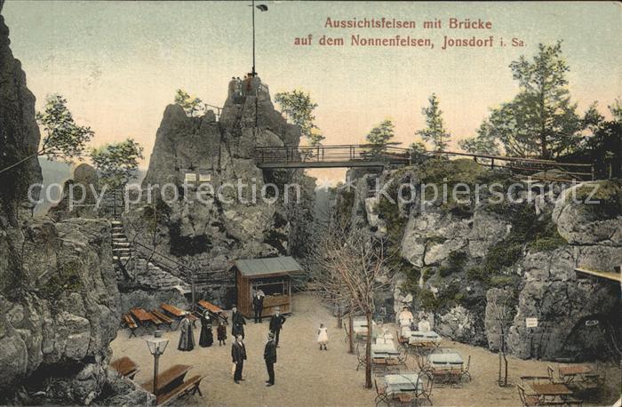 Jonsdorf Aussichtsfelsen auf dem Nonnenfelsen Kat. Kurort Jonsdorf