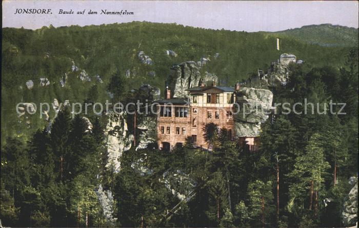 Jonsdorf Baude auf dem Nonnenfelsen Kat. Kurort Jonsdorf