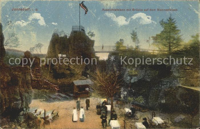 Jonsdorf Aussichtsfelsen mit Bruecke auf dem Nonnenfelsen Kat. Kurort Jonsdorf