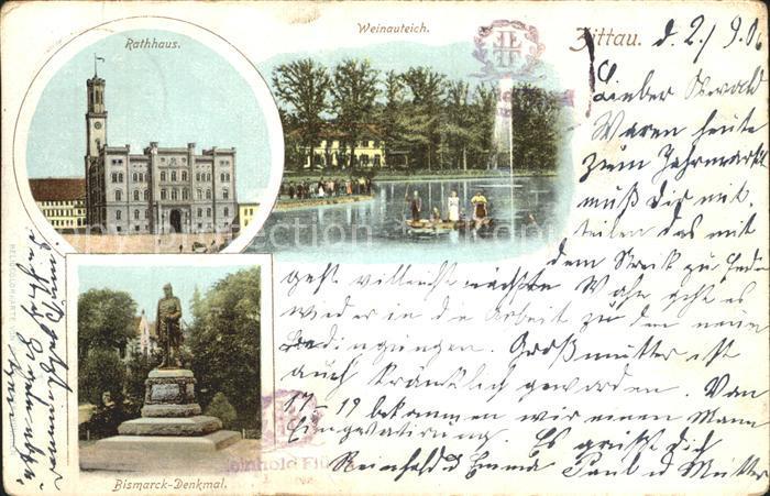 Zittau Rathaus Weinauteich Bismarck Denkmal Kat. Zittau