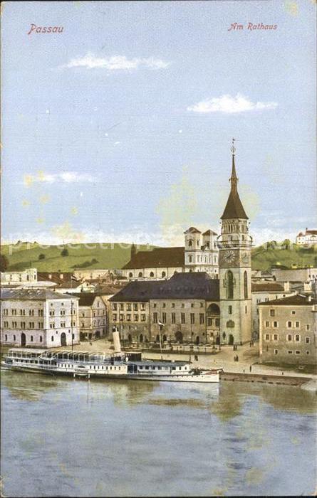 Passau Am Rathaus mit Dampfer Schoenbrunn Kat. Passau