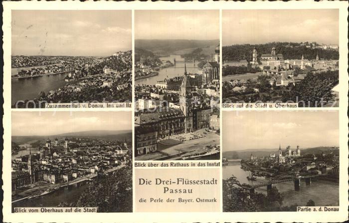 Passau Zusammenfluss Donau Inn und Ilz Blick vom Oberhaus Rathaus Kat. Passau