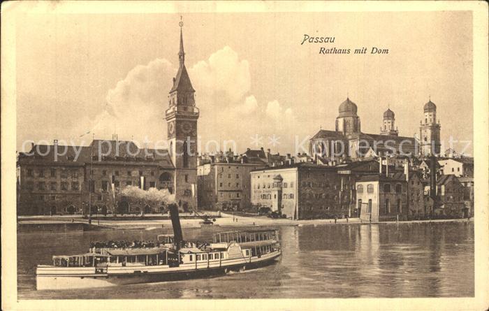 Passau Rathaus mit Dom und Dampfer Kat. Passau