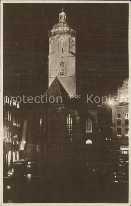 Meissen Elbe Sachsen Beleuchtete Frauenkirche Kat. Meissen