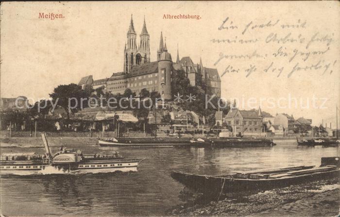 Meissen Elbe Sachsen Albrechtsburg  mit Dampfer Meissen Kat. Meissen