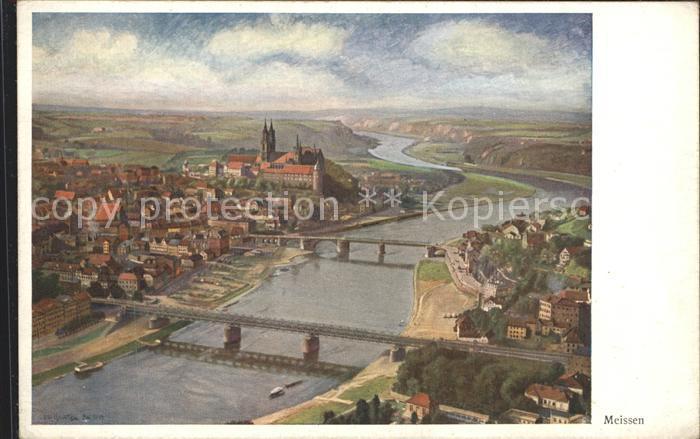 Meissen Elbe Sachsen Stadtansicht Albrechtsburg Kat. Meissen