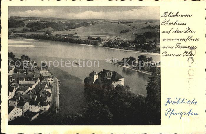 Passau Blick von Oberhaus auf den Zusammenfluss von Donau Inn Ilz Dreifluessestadt Kat. Passau