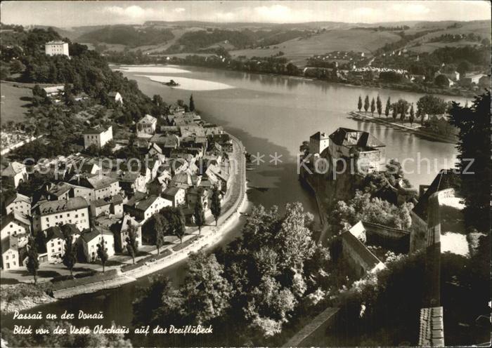 Passau Blick von der Veste Oberhaus auf das Dreiflusseck Inn Donau Ilz Kat. Passau