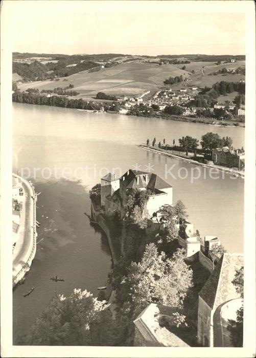 Passau Blick von Veste Oberhaus Zusammenfluss von Donau Inn und Ilz Kat. Passau