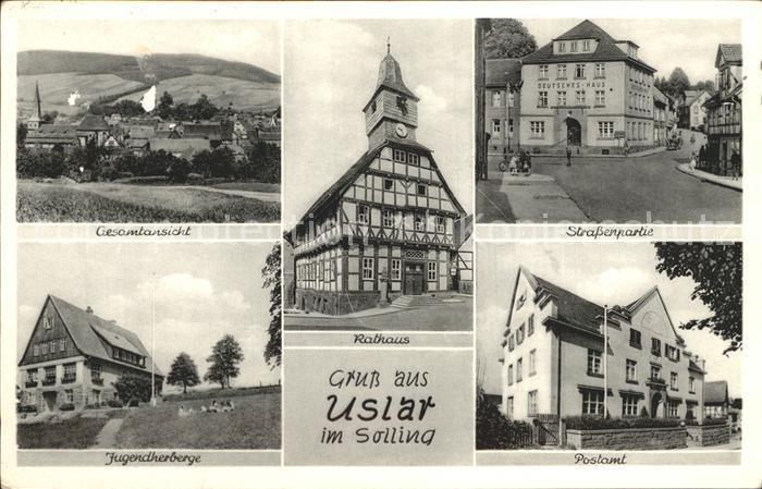 Uslar Solling Strassenpartie Rathaus Postamt Jugendherberge  Kat. Uslar