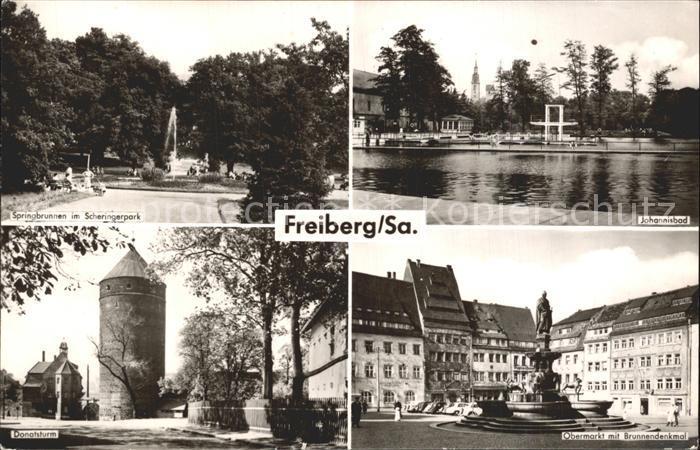 Freiberg Sachsen Johannisbad Donatsturm Obermarkt Brunnendenkmal  Kat. Freiberg