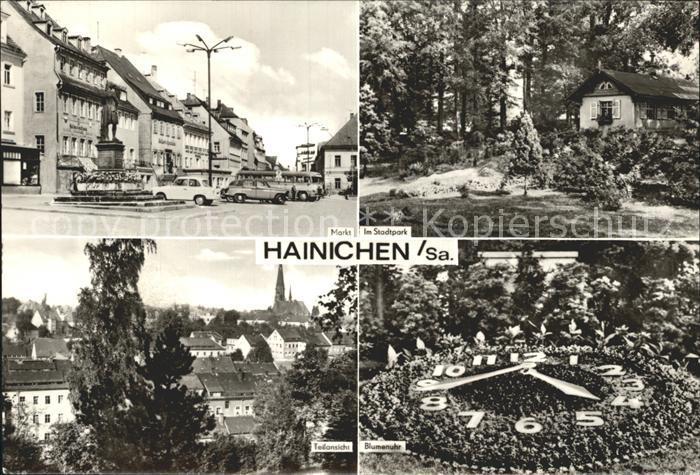 Hainichen Sachsen Markt Stadtpark Teilansicht Blumenuhr Kat. Hainichen Sachsen