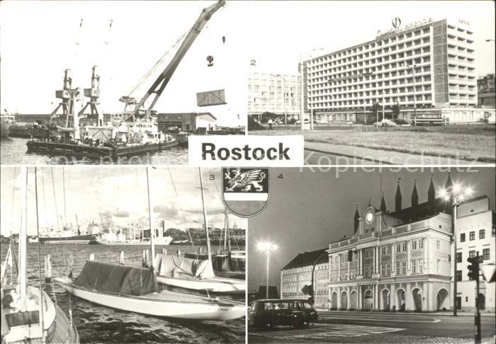 Rostock Mecklenburg Vorpommern ueberseehafen Interhotel Warnow Blick zum alten Hafen Rathaus Kat. Rostock