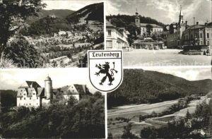 Leutenberg Thueringen Panorama Marktplatz Brunnen Kirche Schloss Freibad Wappen Kat. Leutenberg