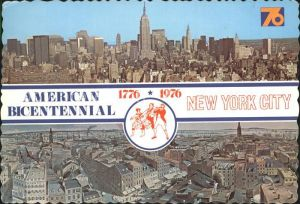 ks17413 New York City American Bicentennial Manhatten Skyscrapers hand colored p