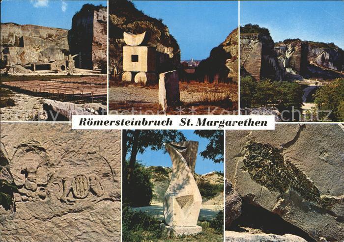Sankt Margarethen Burgenland Roemersteinbruch Passionsspielbuehne Steinmetz Zunftzeichen Plastik Versteinerung Kat. Sankt Margarethen im Burgenland