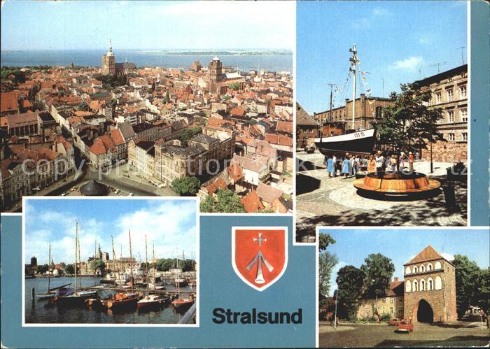 Stralsund Mecklenburg Vorpommern Blick von St Marien Kutter Meeresmuseum Hafen Kniepertor Kat. Stralsund