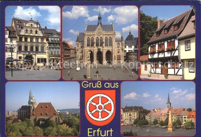 Erfurt Haus Zum Roten Ochsen Rathaus Haeuser am Kreuzsand Dom Platz Severikirche Kat. Erfurt