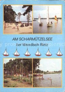 Wendisch Rietz Badestrand Schwarzhorn Segeln Windsurfen Campingplatz Scharmuetzelsee Kat. Wendisch Rietz