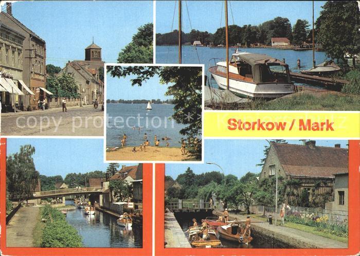 Storkow Mark Altstadt Storkower See Kanal Schleuse Kat. Storkow Mark