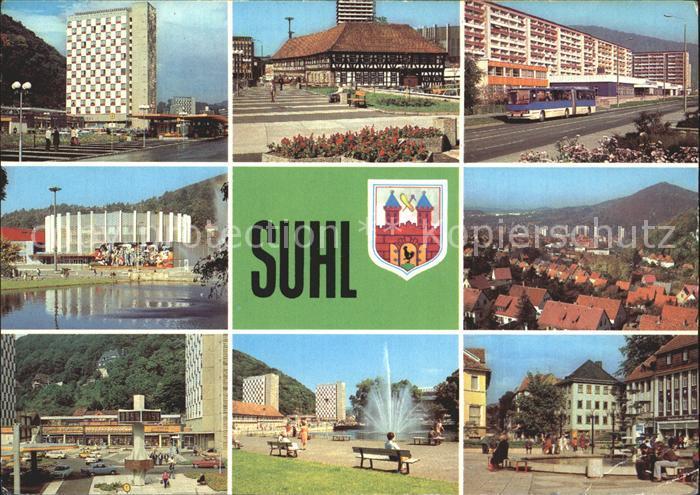 Suhl Thueringer Wald Wilhelm Pieck Strasse Waffenmuseum Strasse der DSF Stadthalle Doellberg Digitaluhr Hochhaeuser Steinweg Kat. Suhl