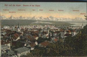 Biel Bienne Gesamtansicht mit den Alpen Kat. Biel