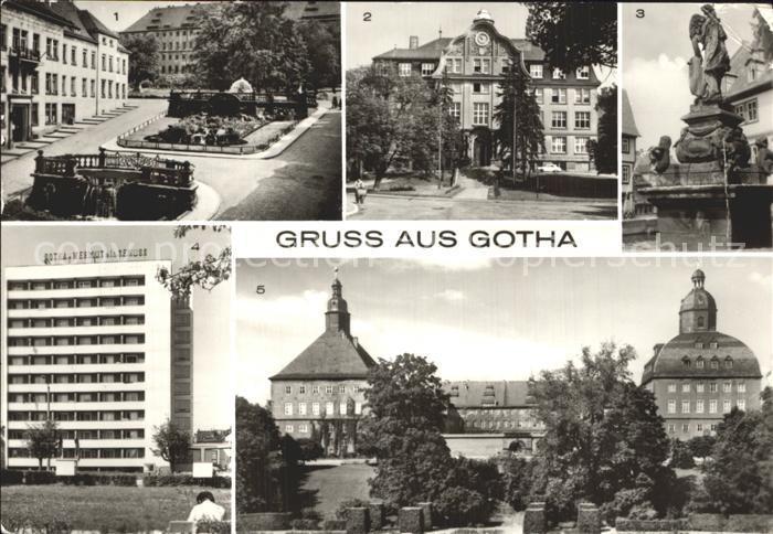 Gotha Thueringen Wasserkunst Schlossberg Ingenieurschule fuer Bauwesen Rathausbrunnen Hochhaus Schloss Kat. Gotha