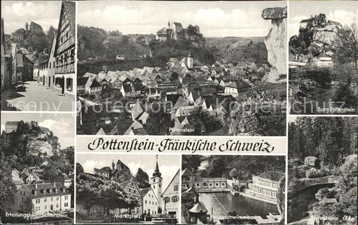 Pottenstein Oberfranken Fischergasse Total Burg Pottenstein Erholungsheim Marktplatz  Felsenschwimmbad Felshoehle Ako Kat. Pottenstein