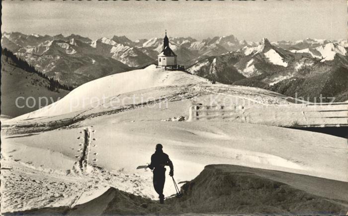 Wallberg mit Kirche Karwendel und Wetterstein Kat. Tegernsee